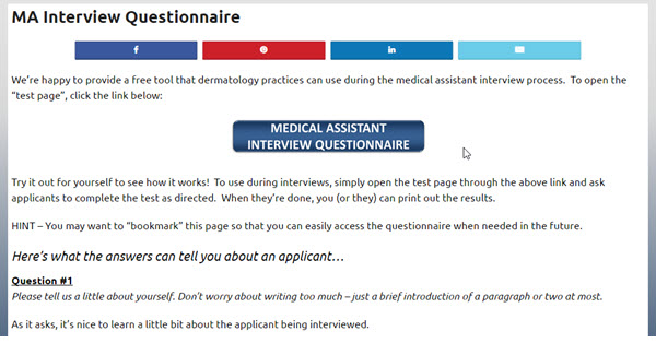 ma interview questionnaire the association of certified dermatology techs